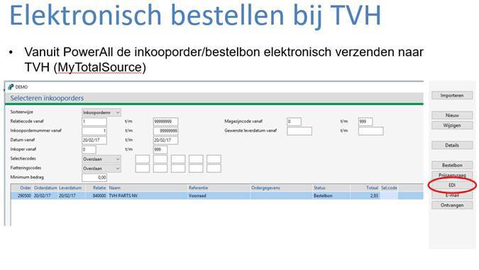 Elekctronisch bestellen bij TVH